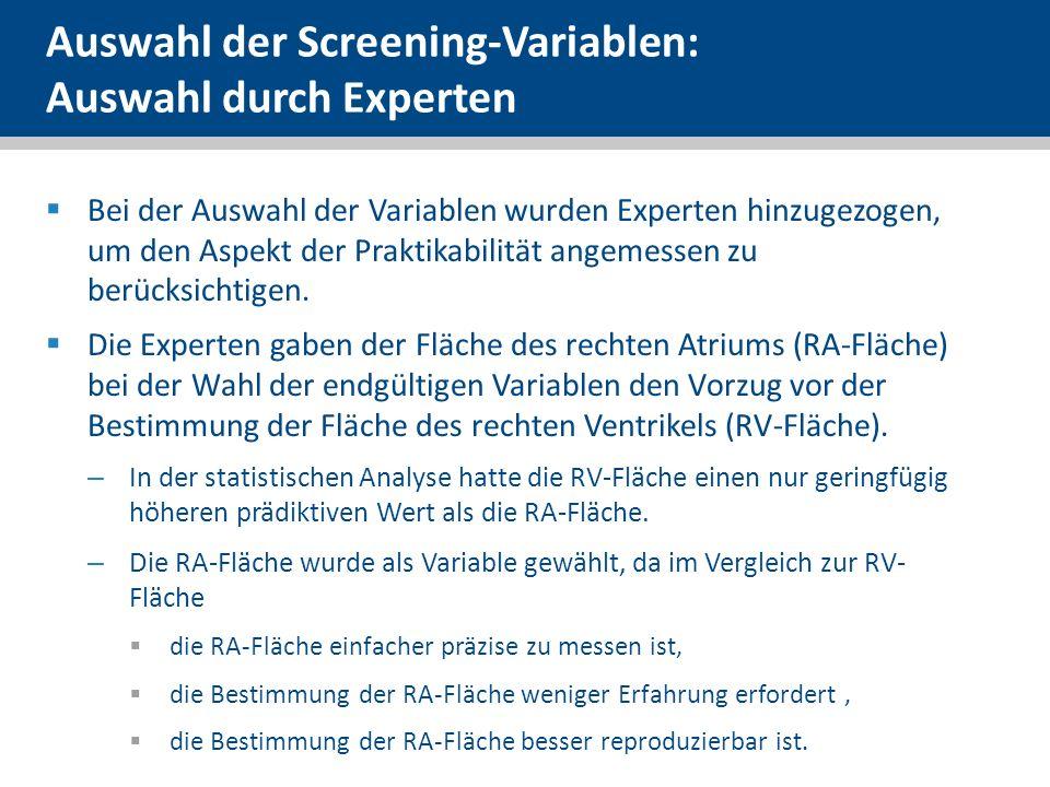 Auswahl der Screening-Variablen: Auswahl durch Experten