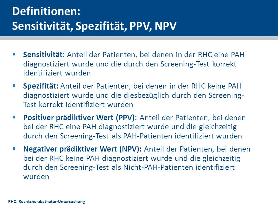 Definitionen: Sensitivität, Spezifität, PPV, NPV