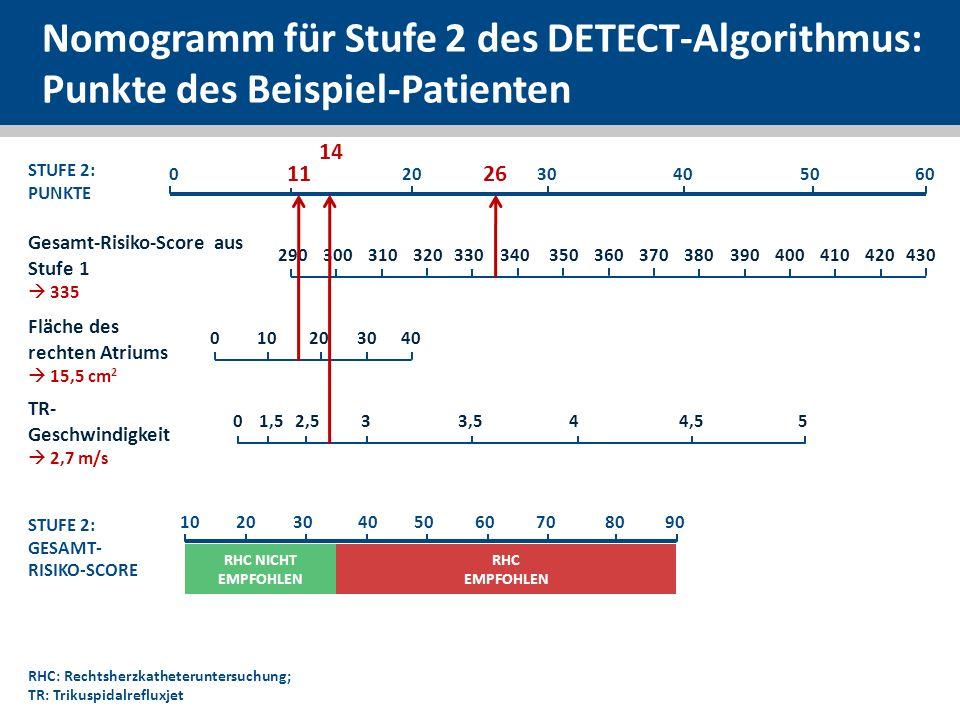Nomogramm für Stufe 2 des DETECT-Algorithmus: Punkte des Beispiel-Patienten