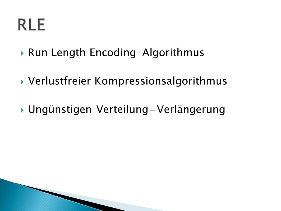 RLE Run Length Encoding-Algorithmus