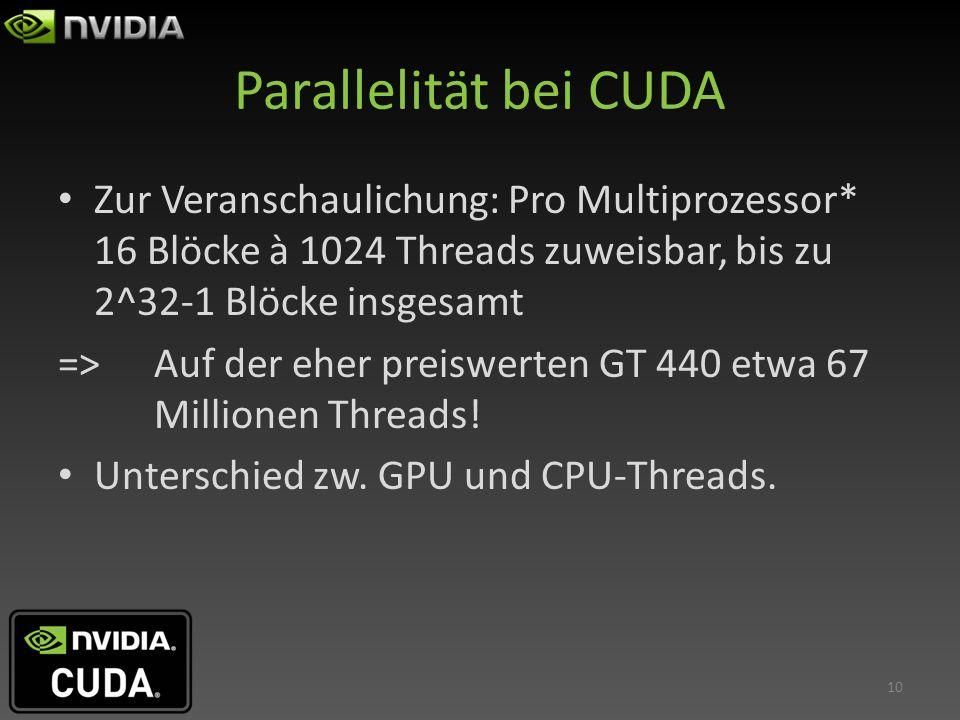 Parallelität bei CUDA Zur Veranschaulichung: Pro Multiprozessor* 16 Blöcke à 1024 Threads zuweisbar, bis zu 2^32-1 Blöcke insgesamt.