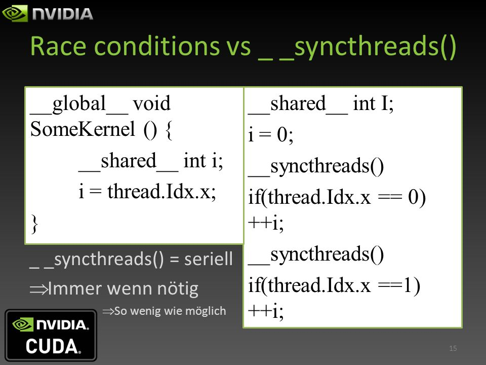 Race conditions vs _ _syncthreads()