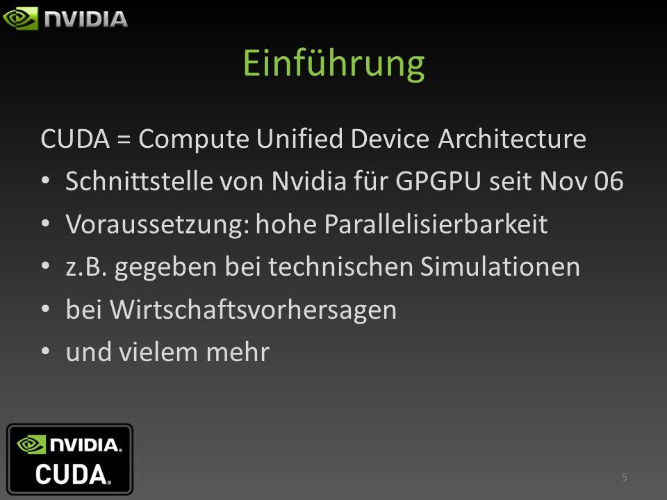 Einführung CUDA = Compute Unified Device Architecture