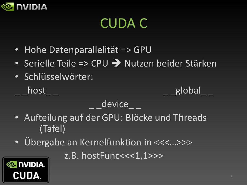 CUDA C Hohe Datenparallelität => GPU