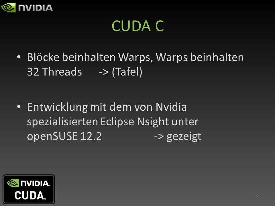 CUDA C Blöcke beinhalten Warps, Warps beinhalten 32 Threads -> (Tafel)