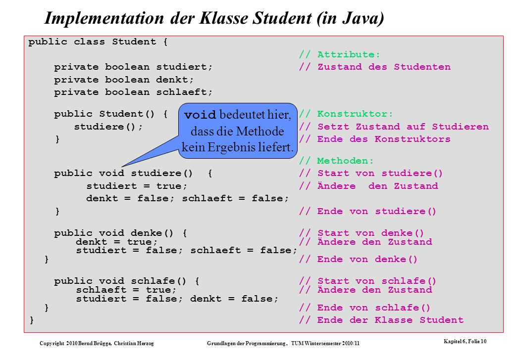 Implementation der Klasse Student (in Java)