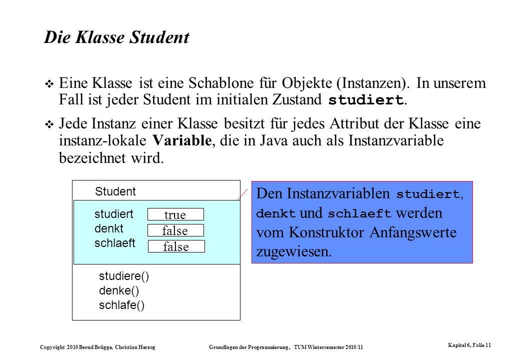 Die Klasse Student Eine Klasse ist eine Schablone für Objekte (Instanzen). In unserem Fall ist jeder Student im initialen Zustand studiert.