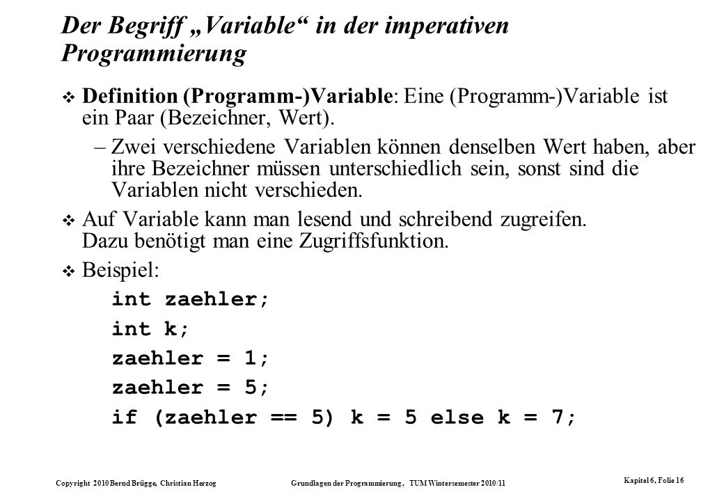 "Der Begriff ""Variable in der imperativen Programmierung"