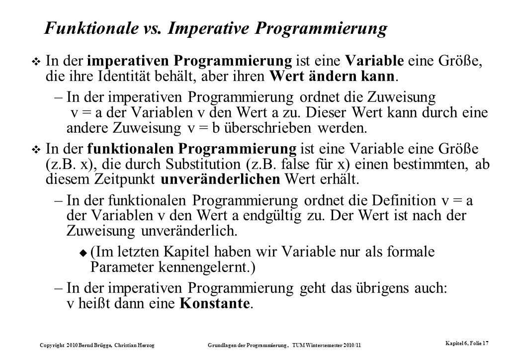 Funktionale vs. Imperative Programmierung