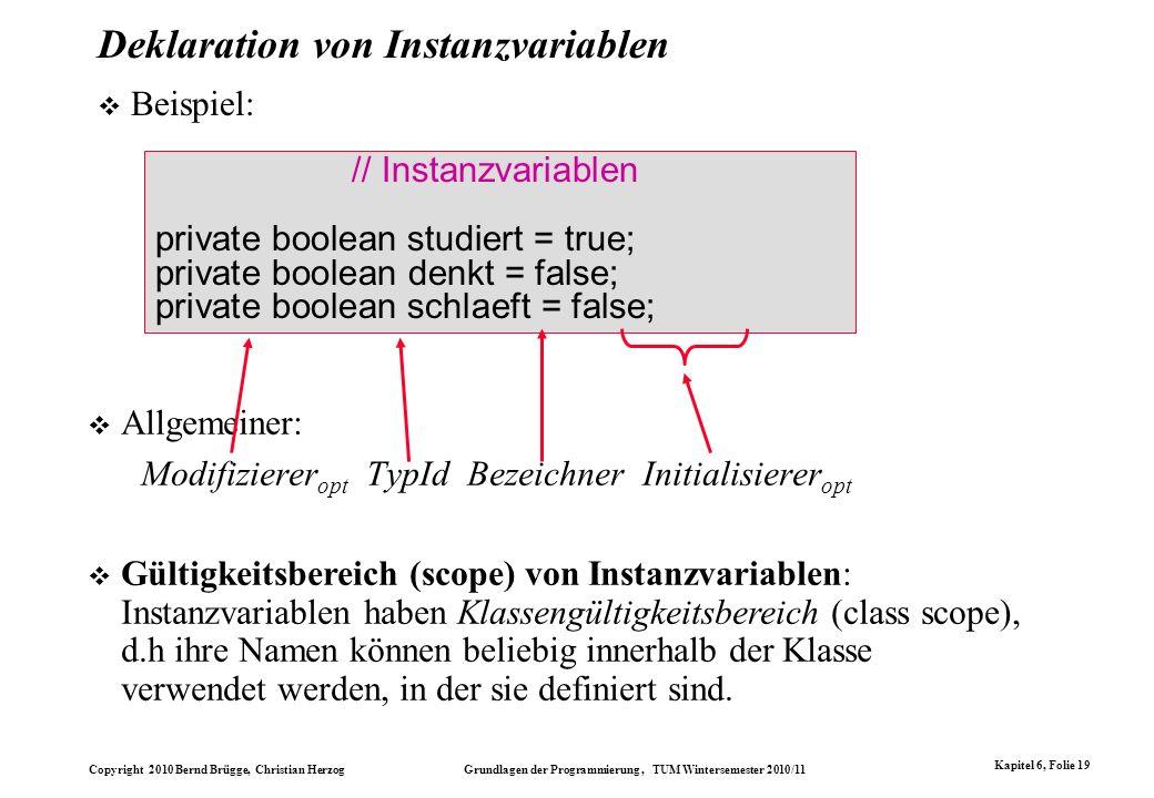 Deklaration von Instanzvariablen