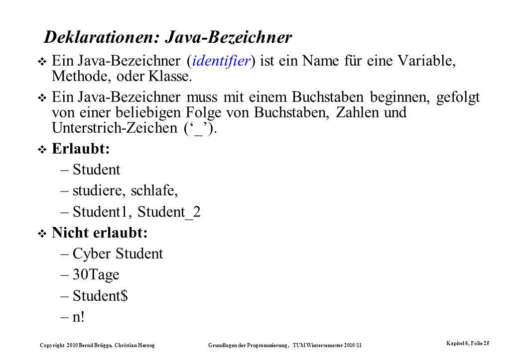 Deklarationen: Java-Bezeichner
