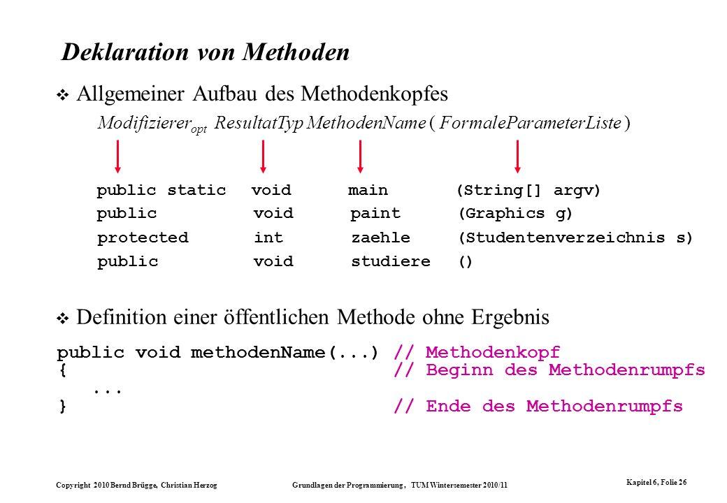 Deklaration von Methoden