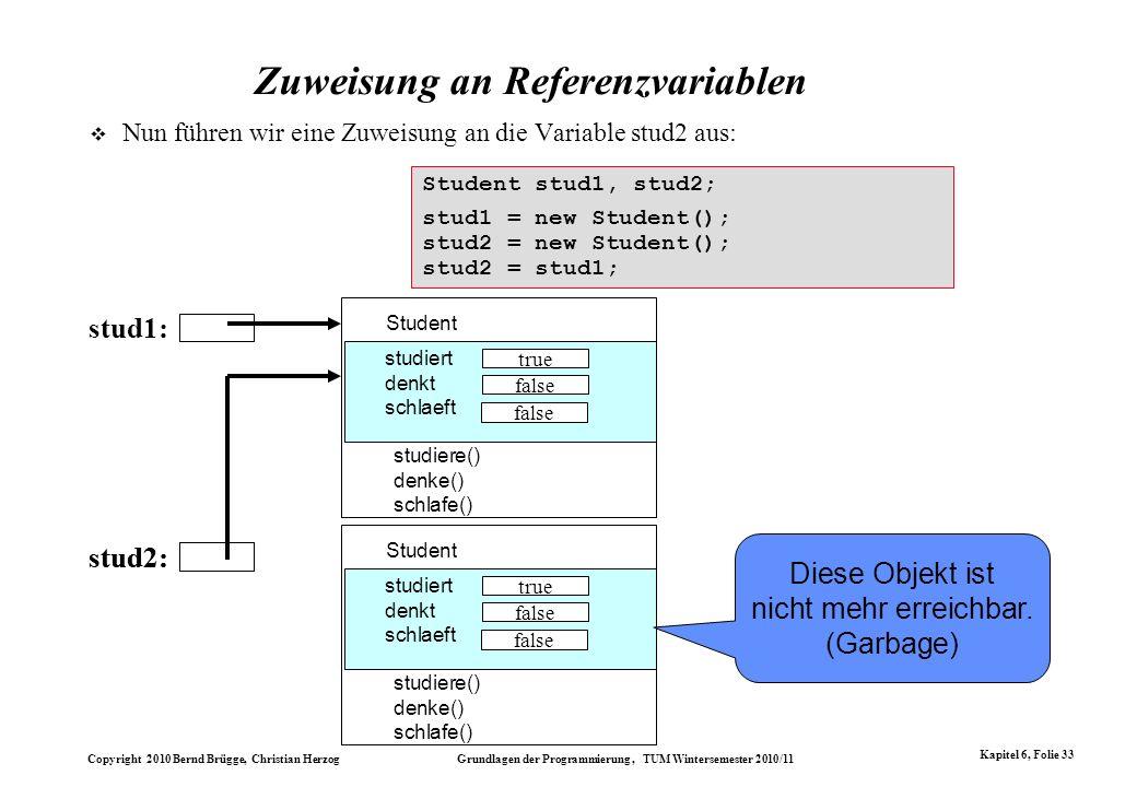 Zuweisung an Referenzvariablen