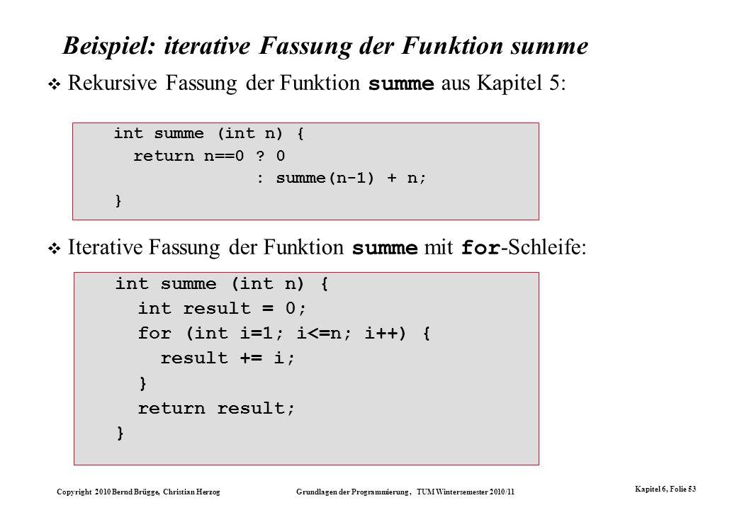 Beispiel: iterative Fassung der Funktion summe