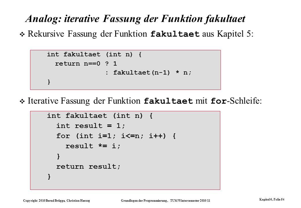 Analog: iterative Fassung der Funktion fakultaet