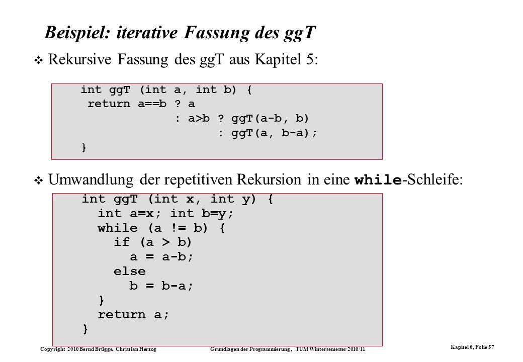 Beispiel: iterative Fassung des ggT