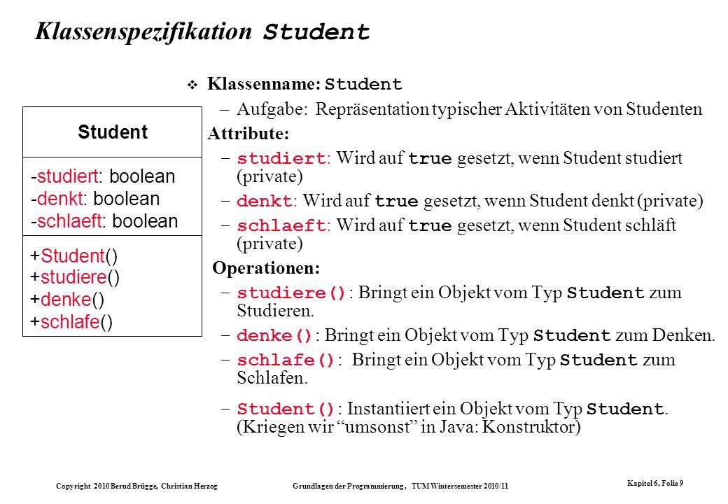 Klassenspezifikation Student