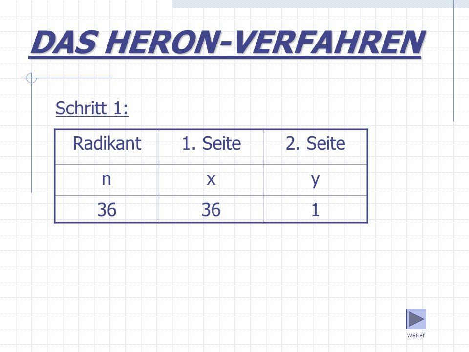 DAS HERON-VERFAHREN Schritt 1: Radikant 1. Seite 2. Seite n x y 36 1