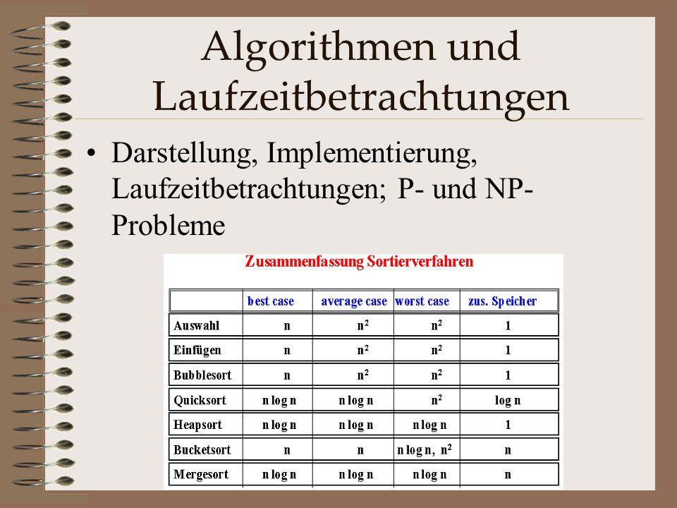 Algorithmen und Laufzeitbetrachtungen