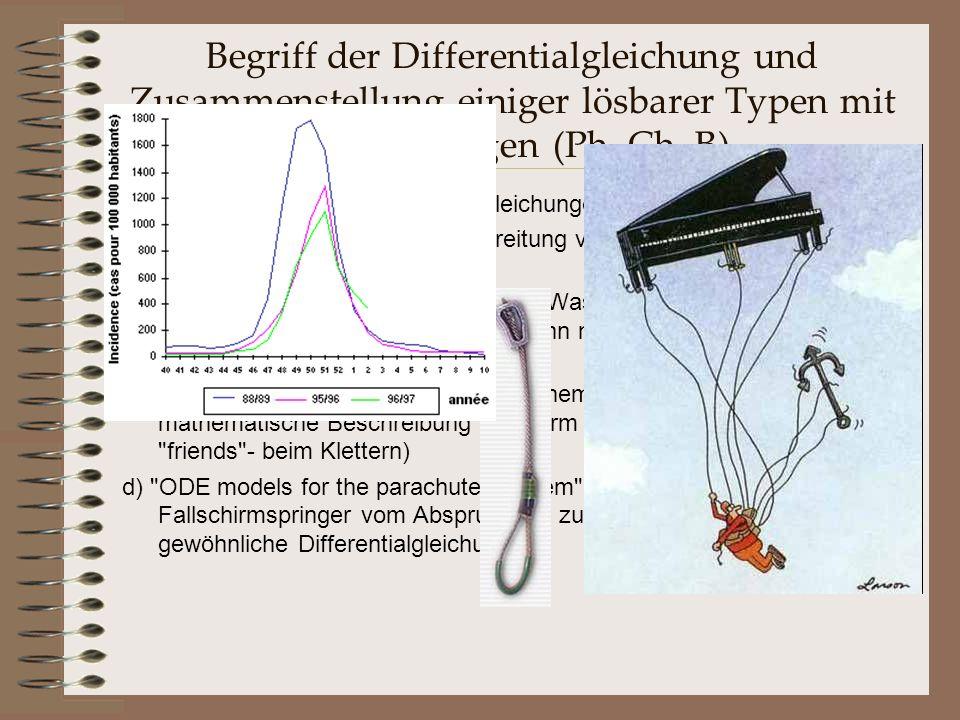 Begriff der Differentialgleichung und Zusammenstellung einiger lösbarer Typen mit Anwendungen (Ph, Ch, B)