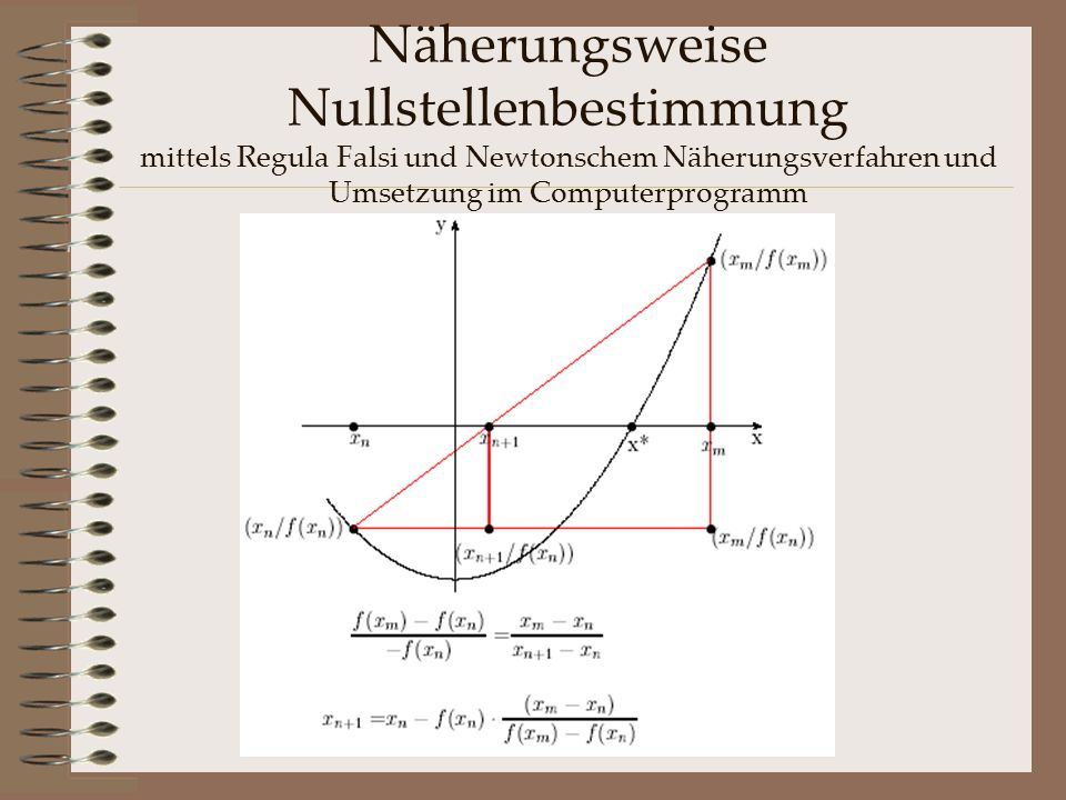 Näherungsweise Nullstellenbestimmung mittels Regula Falsi und Newtonschem Näherungsverfahren und Umsetzung im Computerprogramm