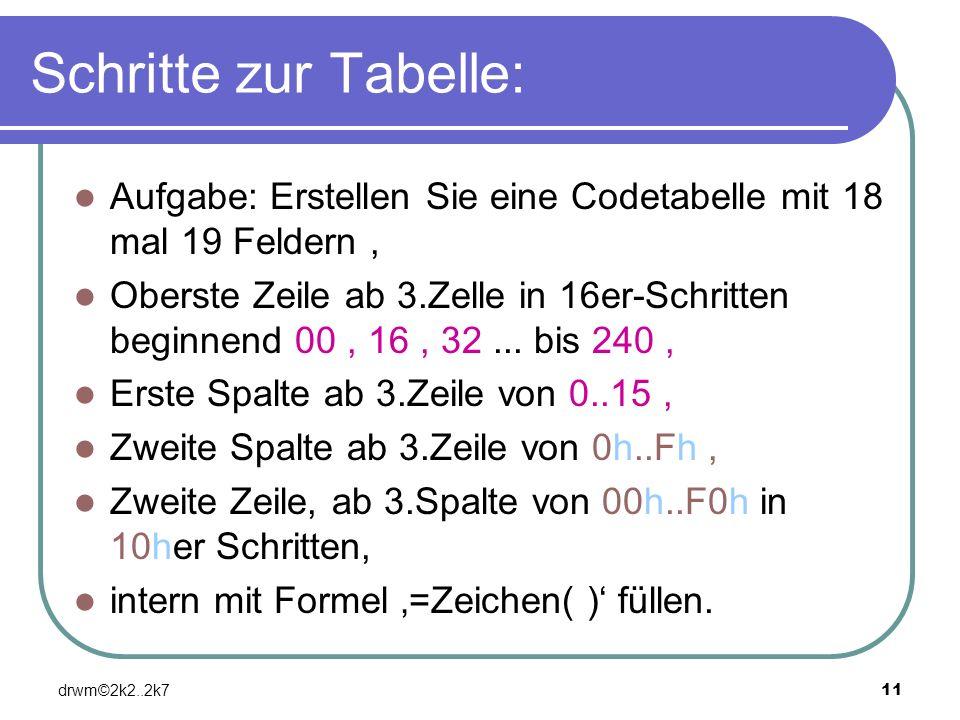 Schritte zur Tabelle: Aufgabe: Erstellen Sie eine Codetabelle mit 18 mal 19 Feldern ,