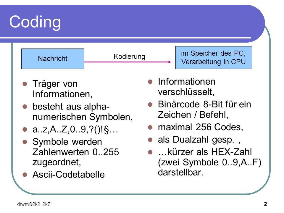 Coding Informationen verschlüsselt, Träger von Informationen,
