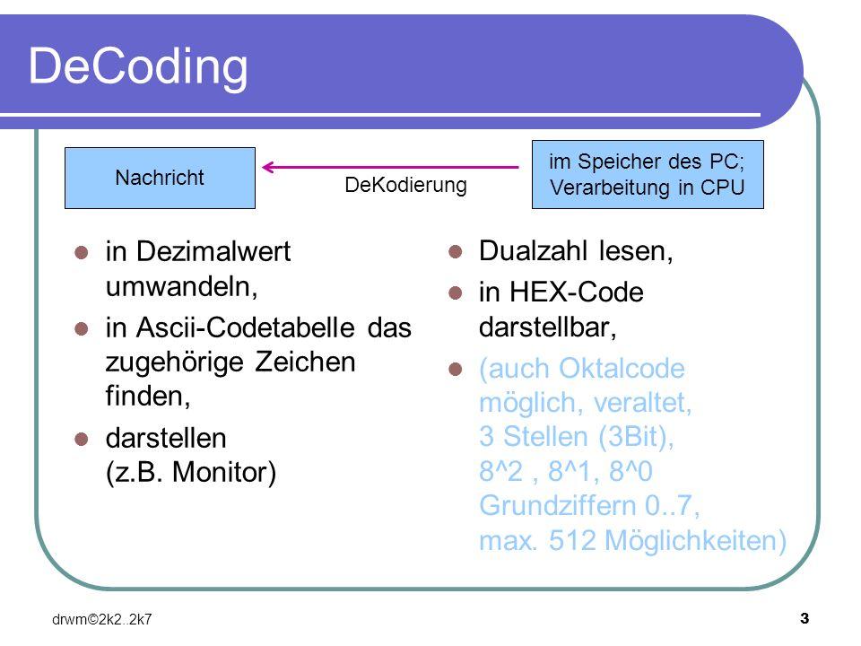 DeCoding in Dezimalwert umwandeln, Dualzahl lesen,