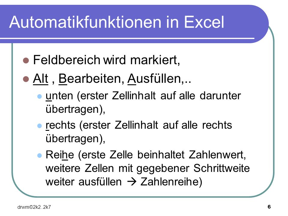 Automatikfunktionen in Excel
