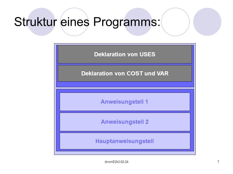 Struktur eines Programms: