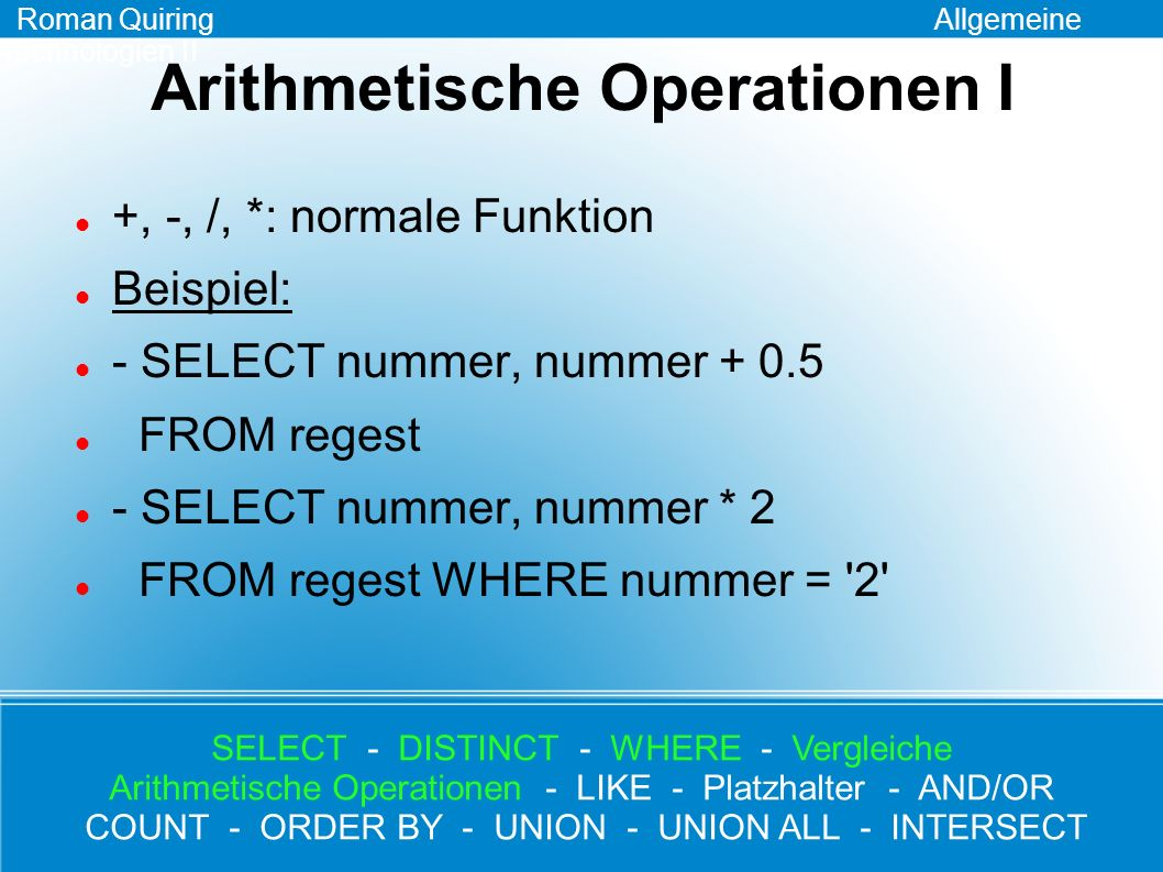 Arithmetische Operationen I