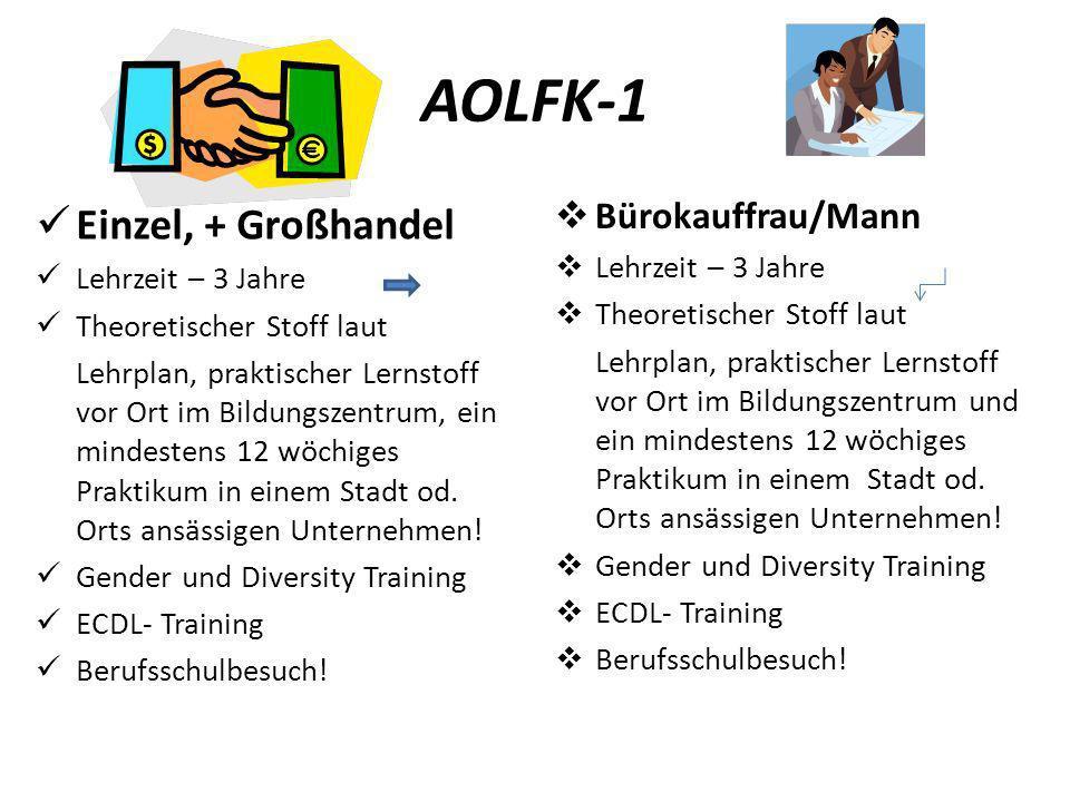AOLFK-1 Einzel, + Großhandel Bürokauffrau/Mann Lehrzeit – 3 Jahre