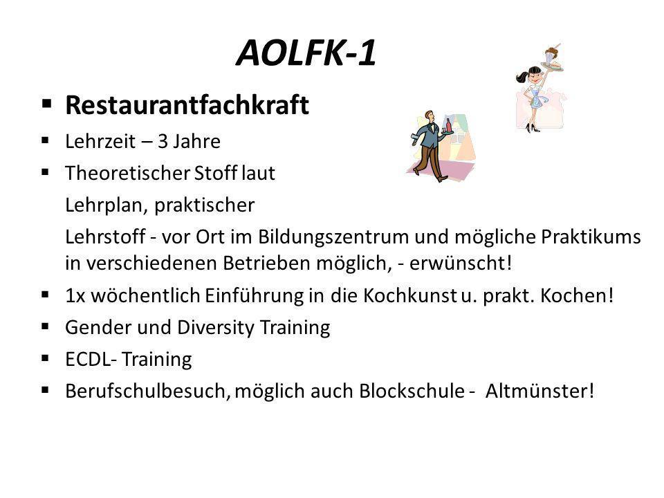 AOLFK-1 Restaurantfachkraft Lehrzeit – 3 Jahre