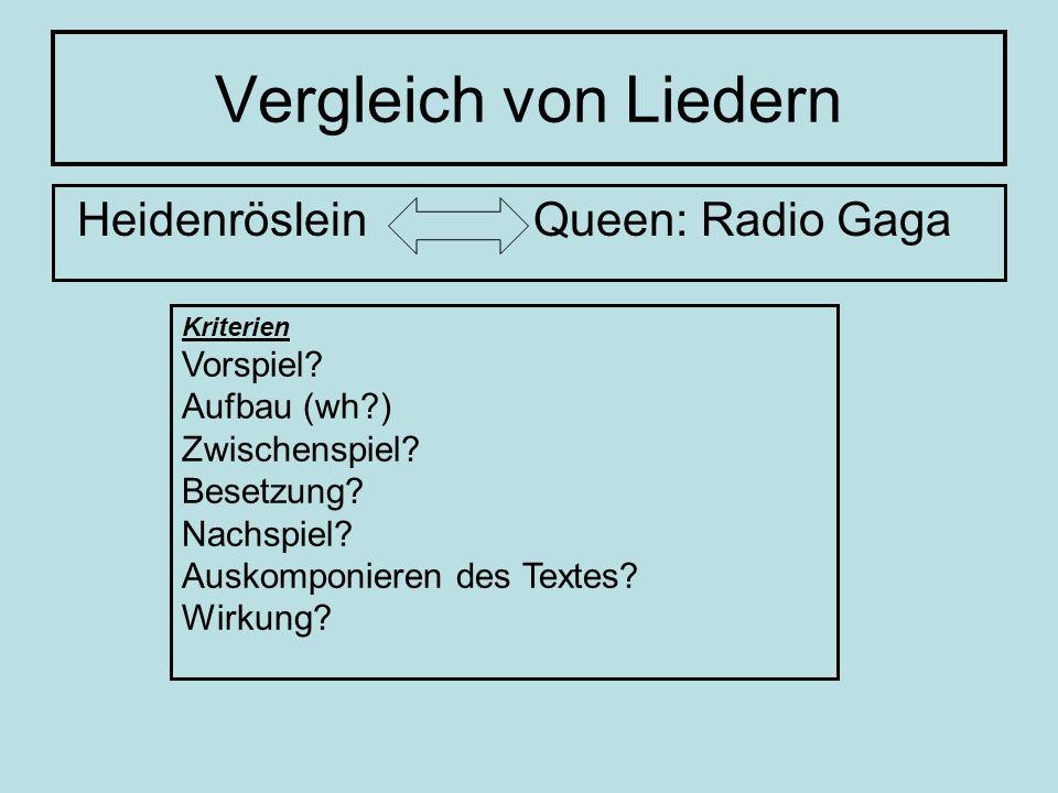 Vergleich von Liedern Heidenröslein Queen: Radio Gaga Vorspiel