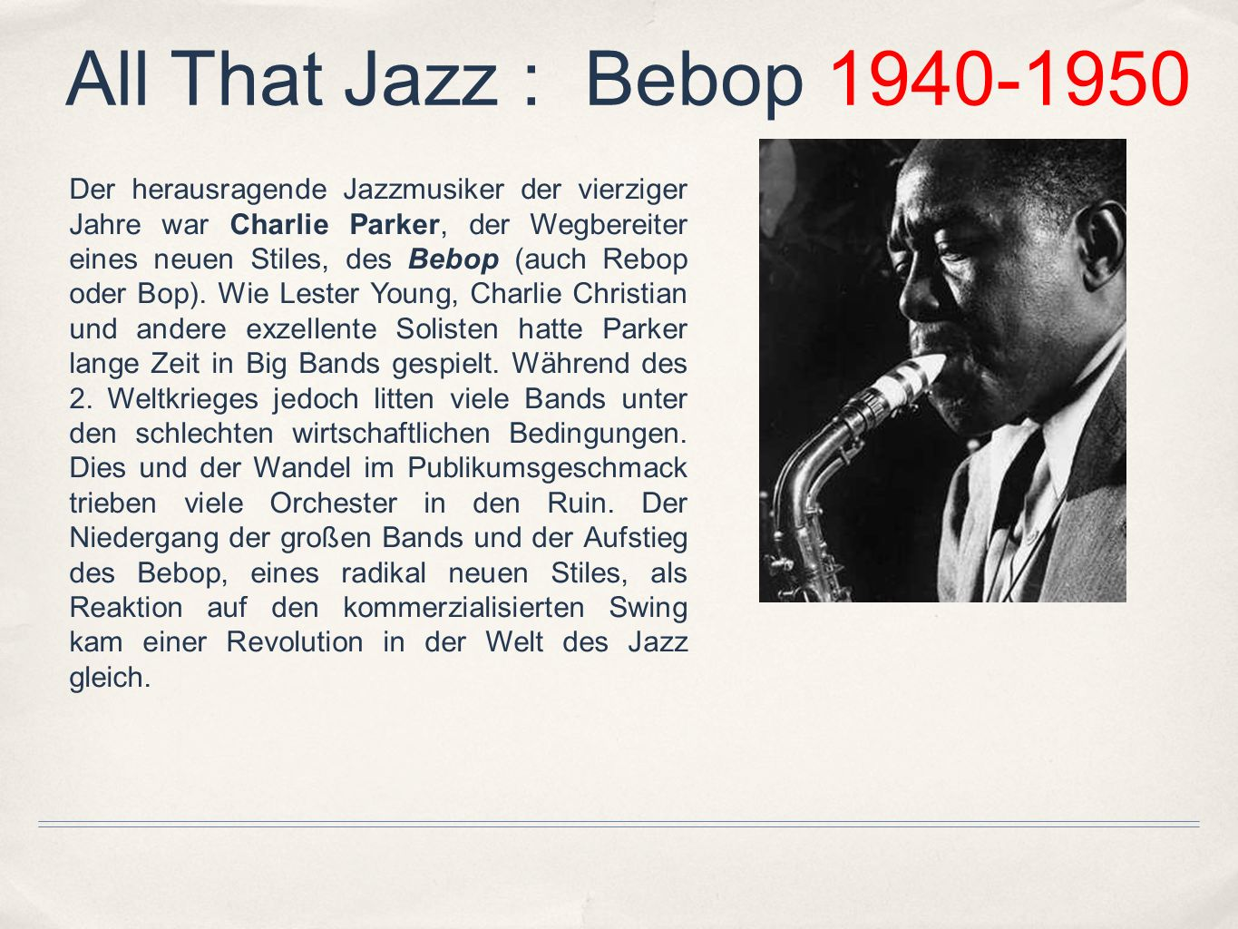 All That Jazz : Bebop