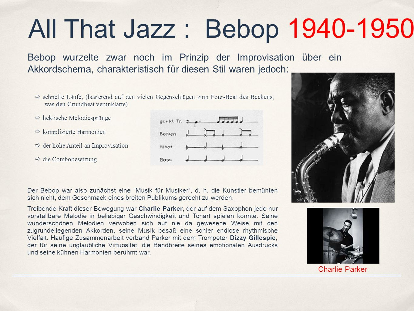 All That Jazz : Bebop 1940-1950
