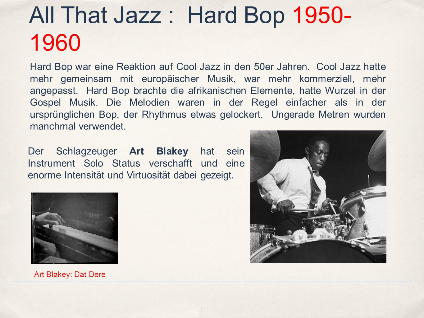 All That Jazz : Hard Bop 1950-1960