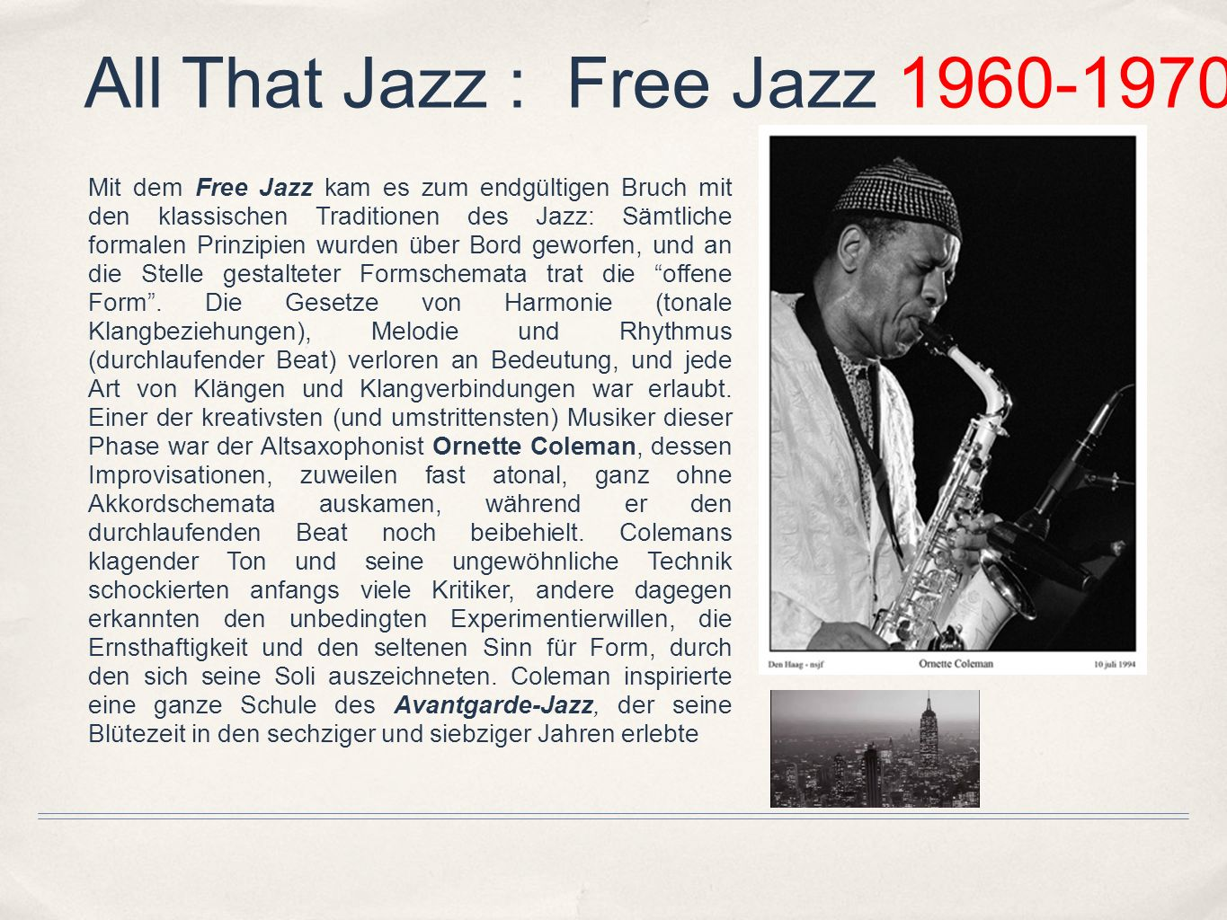 All That Jazz : Free Jazz 1960-1970