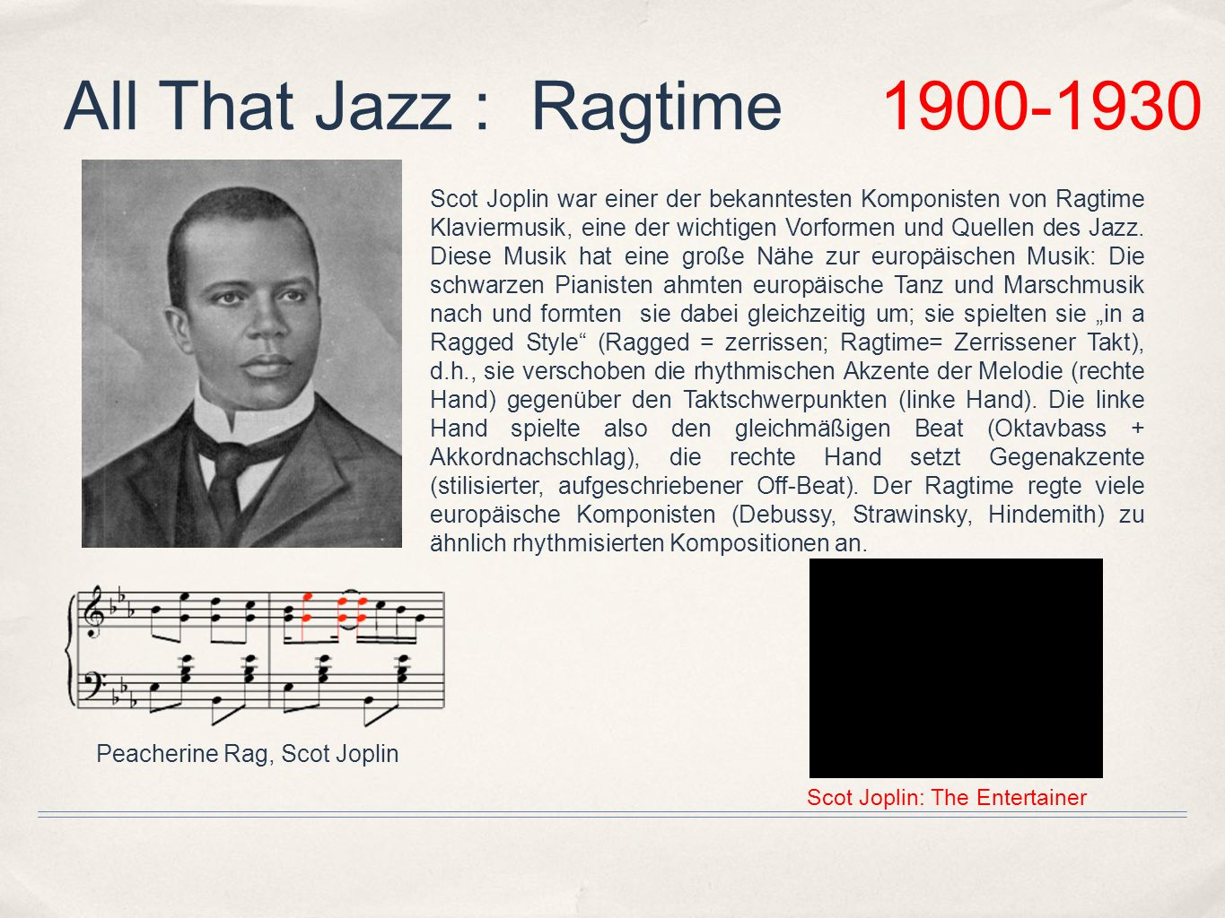 All That Jazz : Ragtime 1900-1930