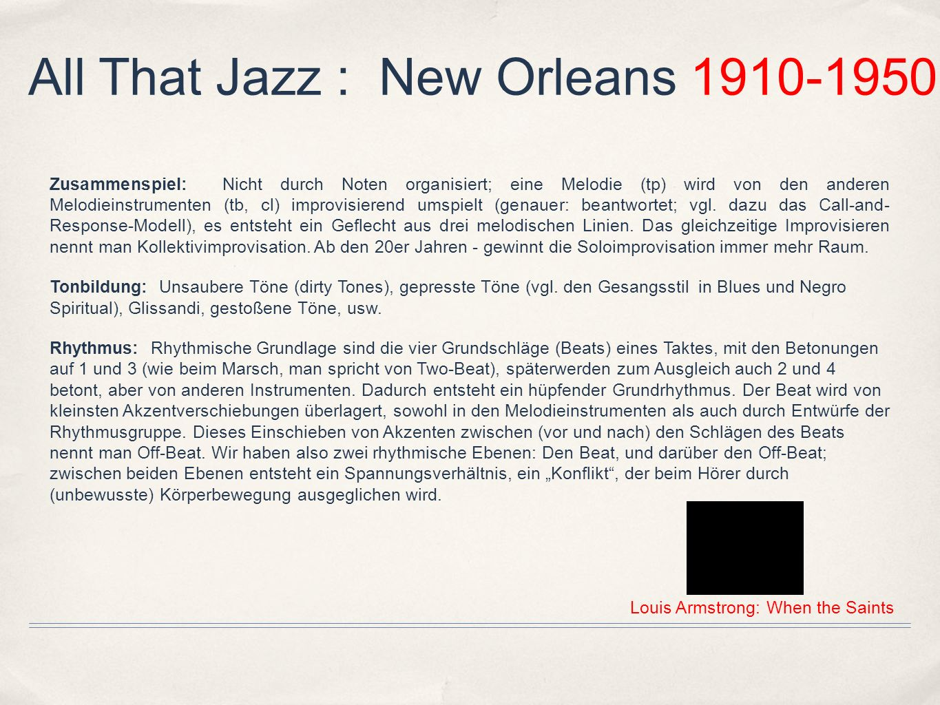 All That Jazz : New Orleans 1910-1950