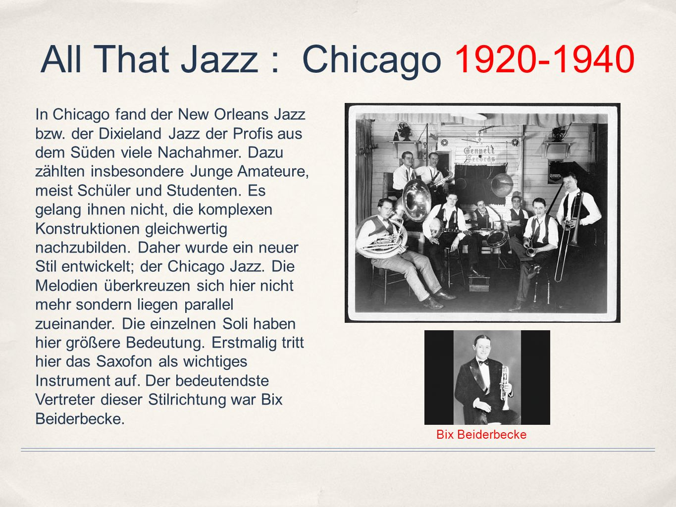 All That Jazz : Chicago 1920-1940