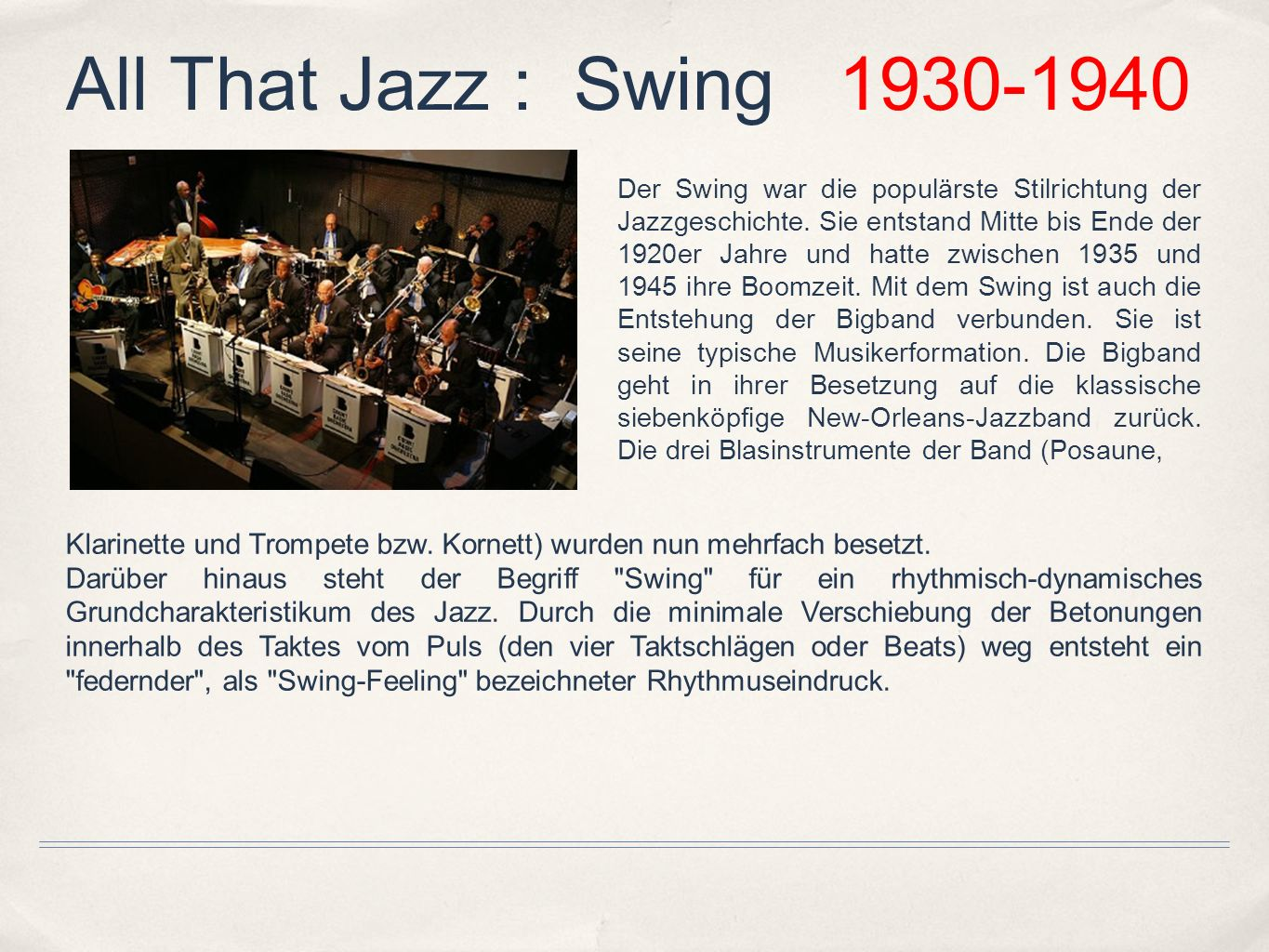 All That Jazz : Swing 1930-1940