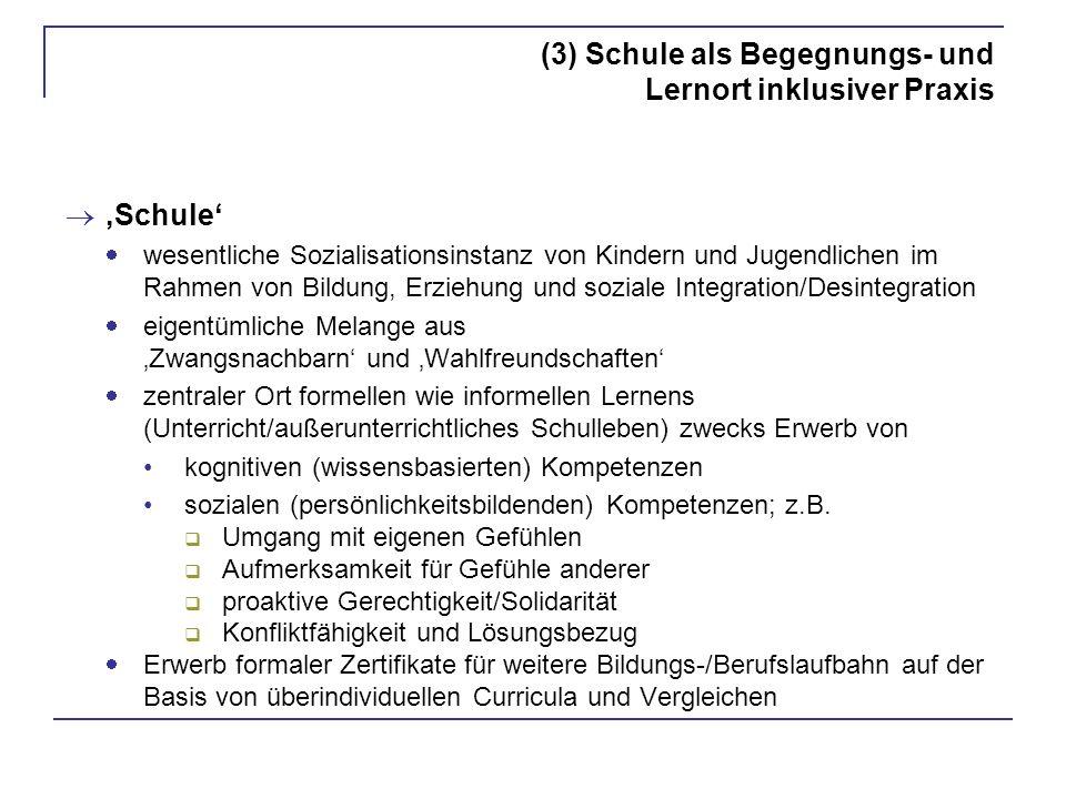 (3) Schule als Begegnungs- und Lernort inklusiver Praxis