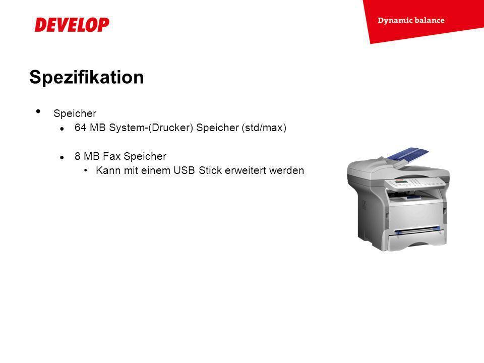 Spezifikation Speicher 64 MB System-(Drucker) Speicher (std/max)