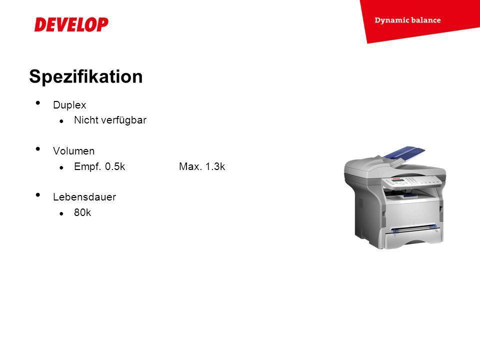 Spezifikation Duplex Nicht verfügbar Volumen Empf. 0.5k Max. 1.3k