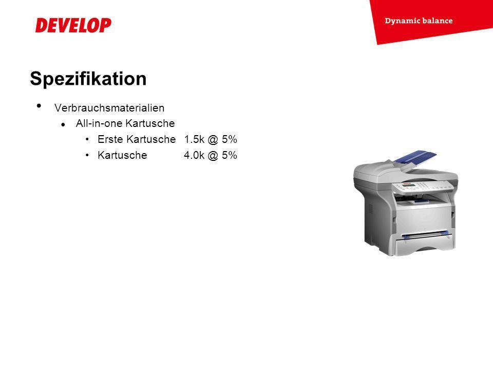 Spezifikation Verbrauchsmaterialien All-in-one Kartusche