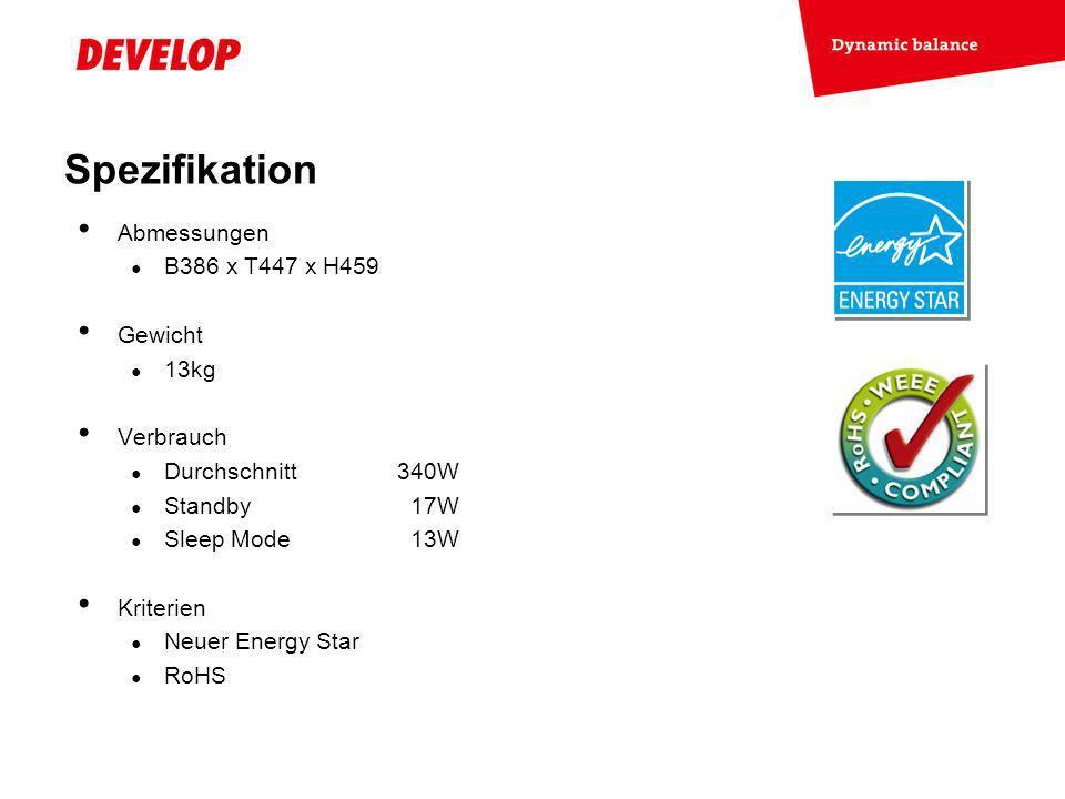 Spezifikation Abmessungen B386 x T447 x H459 Gewicht 13kg Verbrauch