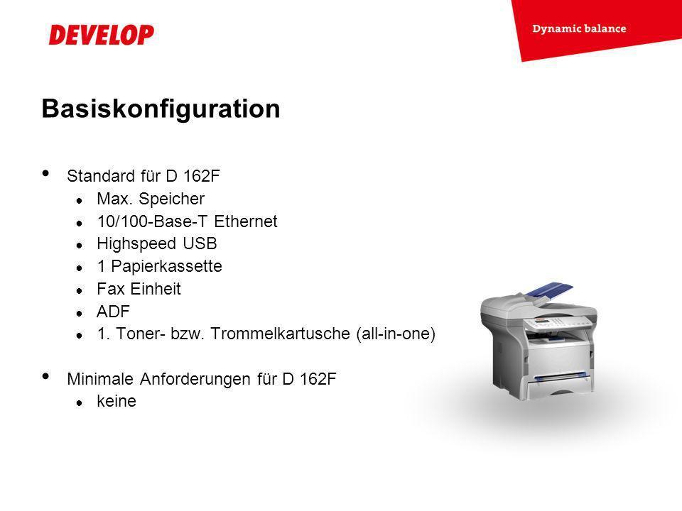 Basiskonfiguration Standard für D 162F Max. Speicher