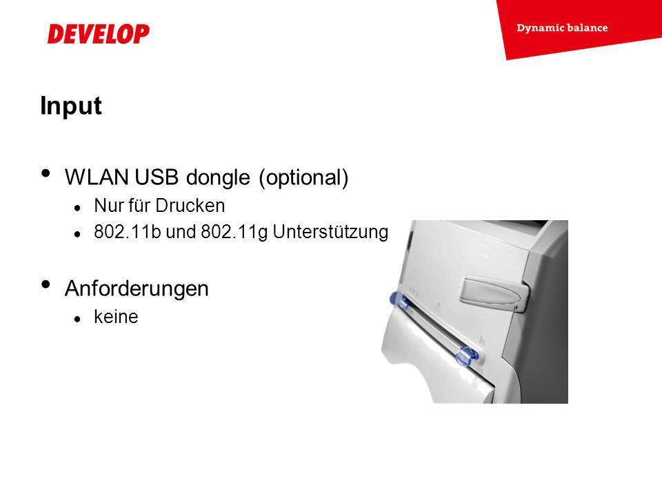 Input WLAN USB dongle (optional) Anforderungen Nur für Drucken