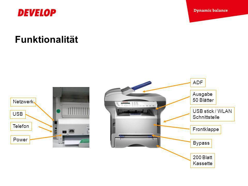 Funktionalität ADF Ausgabe 50 Blätter Netzwerk USB stick / WLAN USB